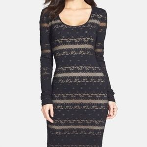 BCBGMaxAzria Black Long Sleeve Lace Sheath Dress